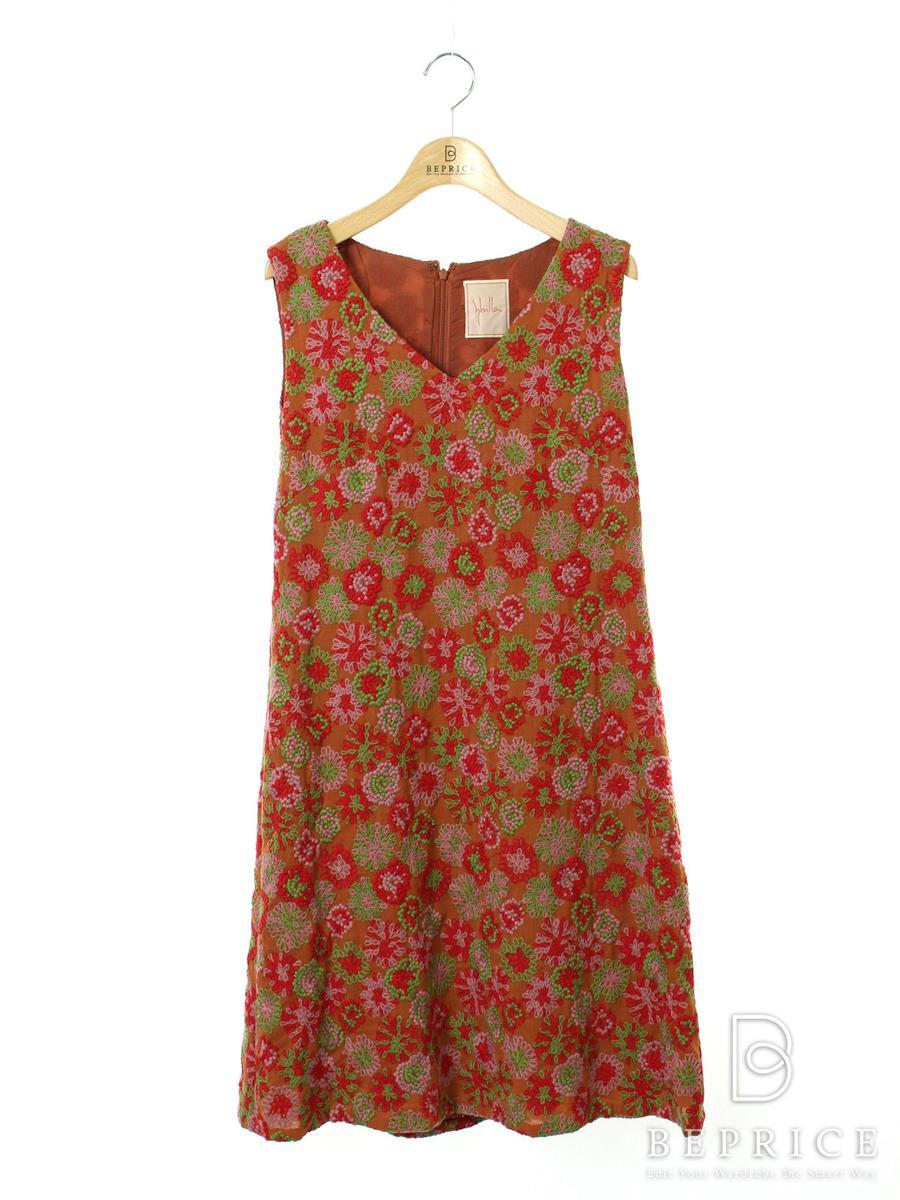 シビラ ワンピース ノースリ 花柄 刺繍