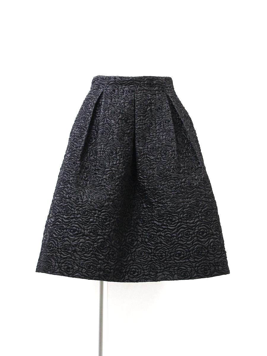 エムズグレイシー スカート フレアー 型押 ローズ柄
