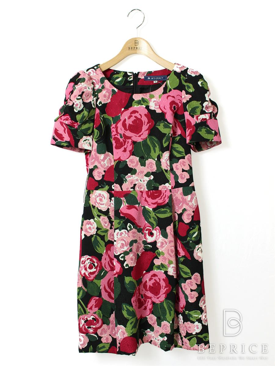 エムズグレイシー ワンピース 半袖 花柄 ベルト欠品