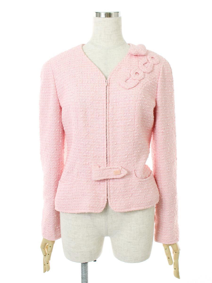シャネル 洋服 ジャケット ツイード フロントジップアップ ピンク