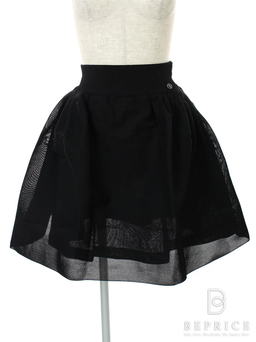 シャネル 洋服 フレアスカート メッシュ ブラック