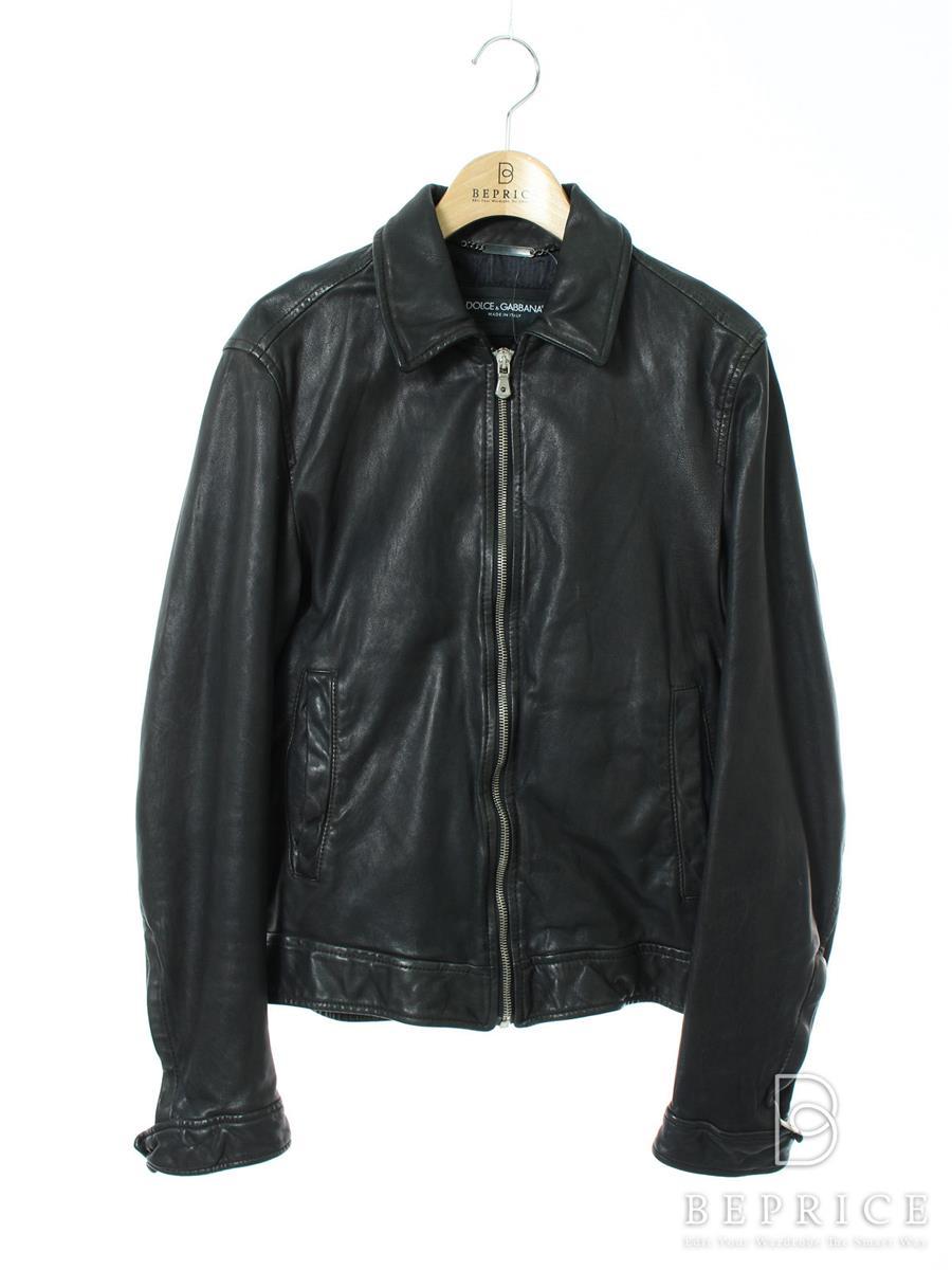 ジャケット ラムレザー 襟付 スレ・裾に一部変色あり