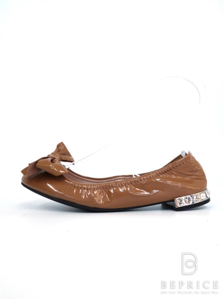 ミュウミュウ 靴 パンプス バレエシューズ リボン