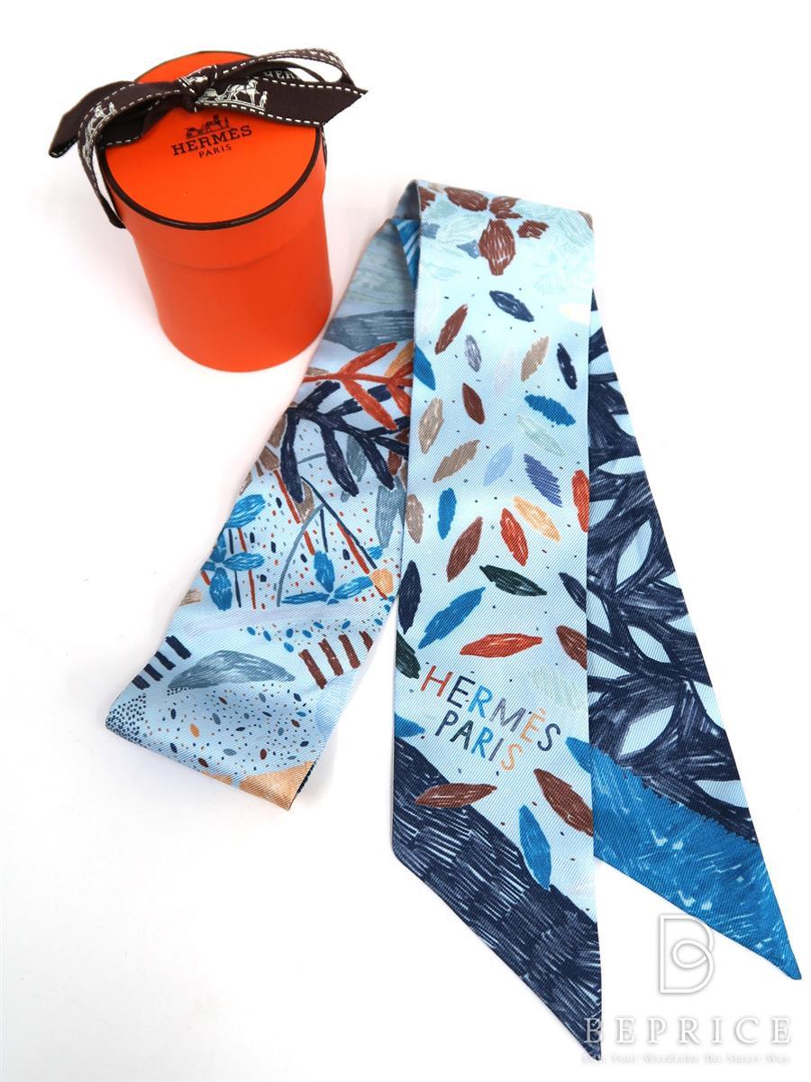 エルメス スカーフ ツイリー それぞれの巣作り 2016年 ブルー