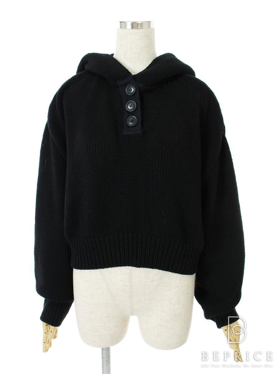 ニット セーター トップス Light Gray Chuncky Knitted Hoodie 36530