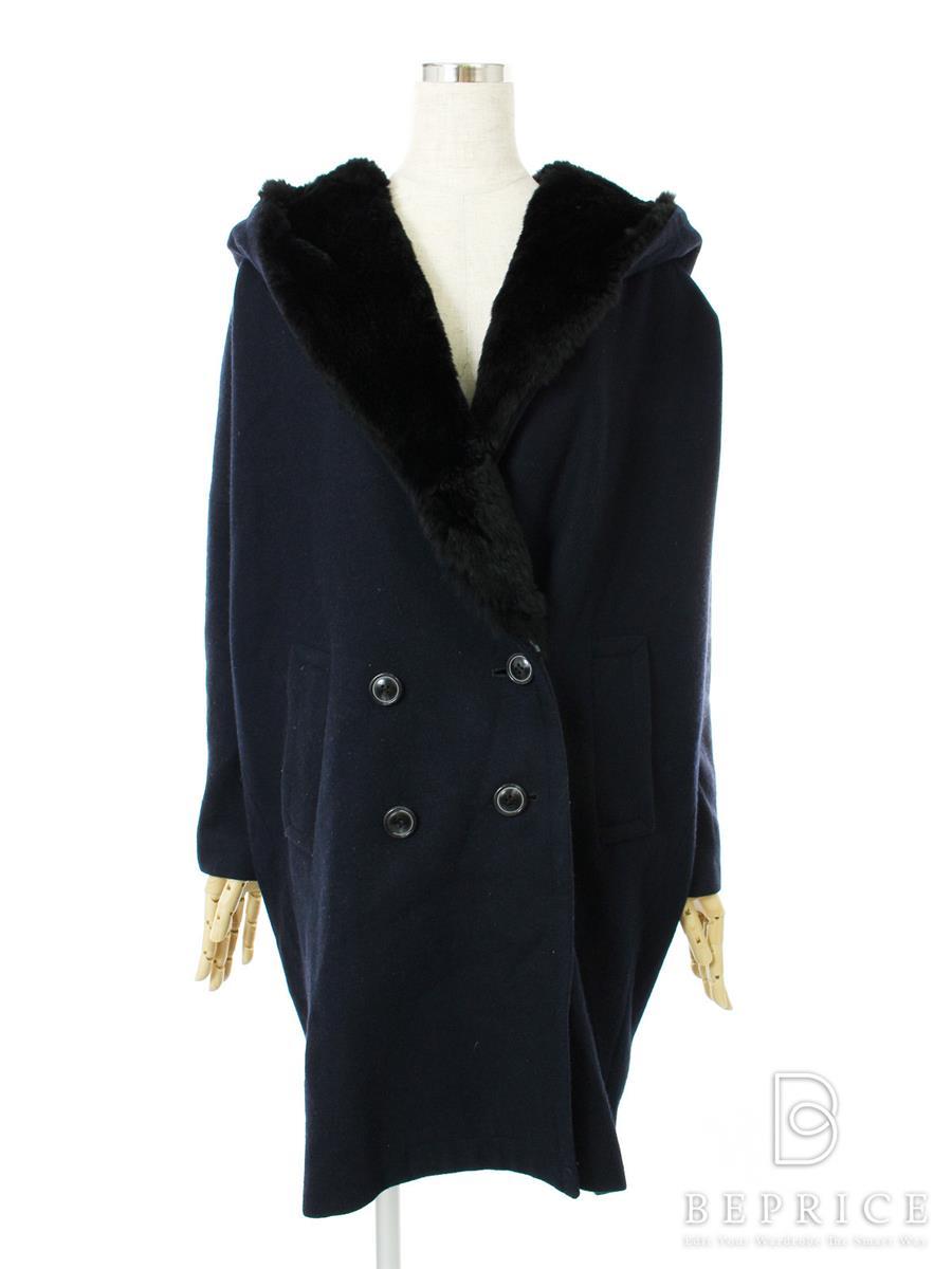グレースコンチネンタル コート コート ウール フード付き ラビットファー 一部ファー抜けあり
