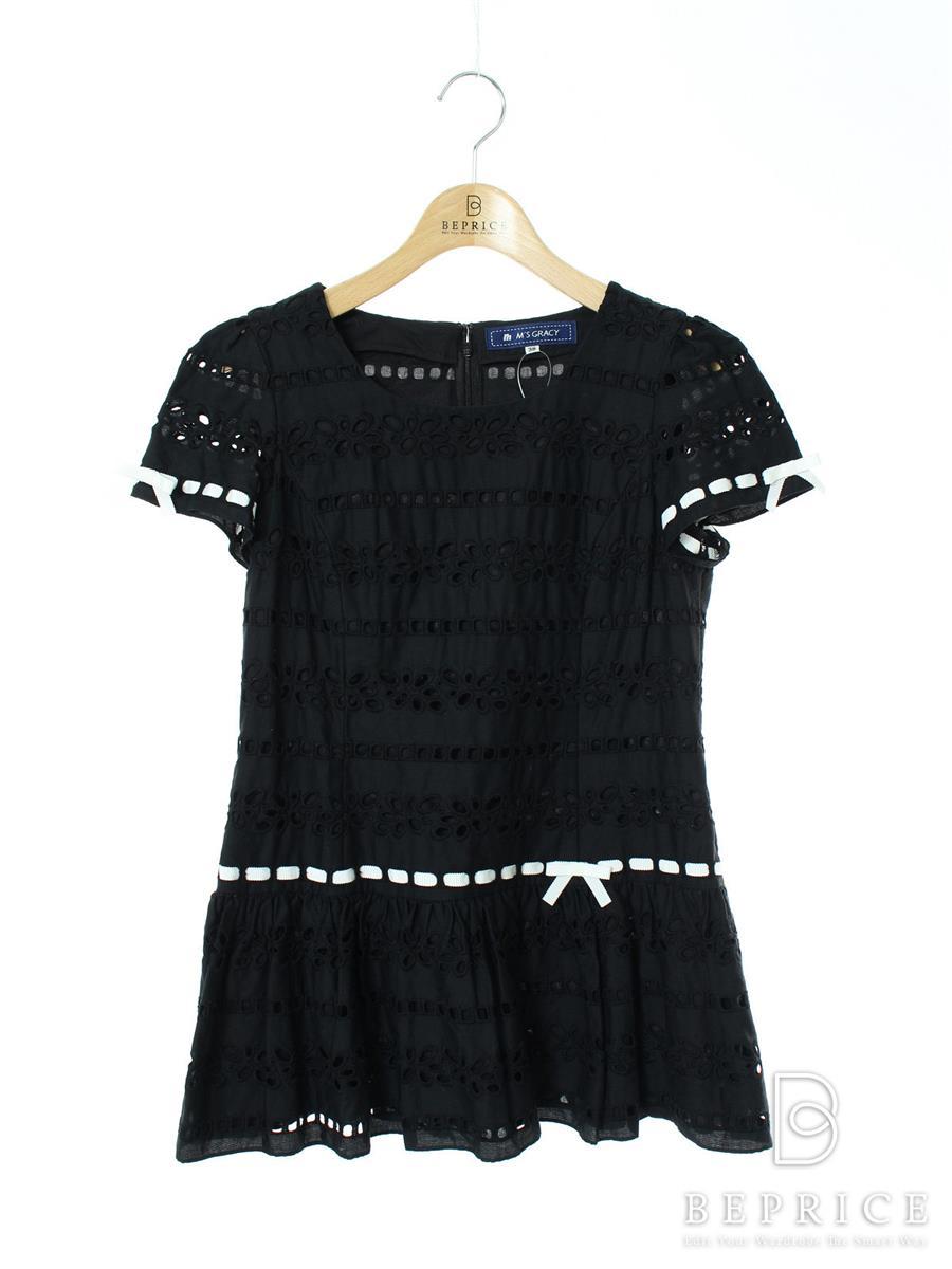 エムズグレイシー シャツ ブラウス トップス 半袖 チュニック カットワーク リボン 薄ワキシミあり