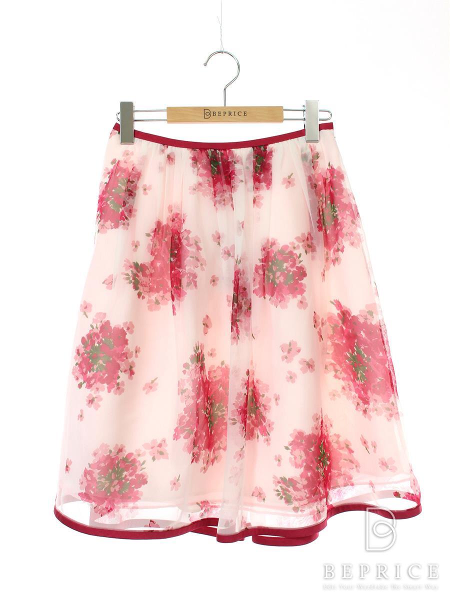 エムズグレイシー スカート スカート フレアー 花柄 オーガンジー