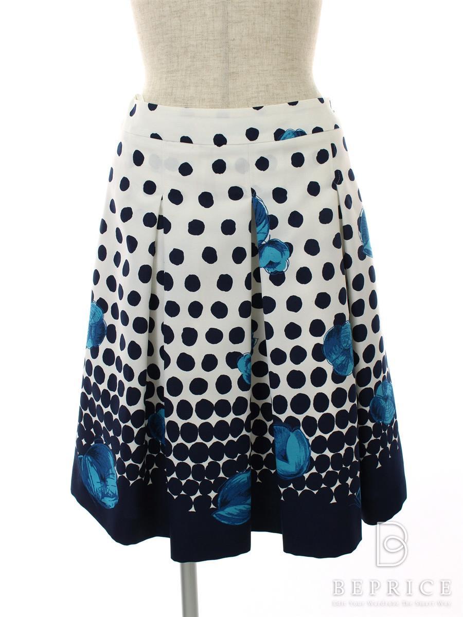 エムズグレイシー スカート スカート フレアー フラワー ドット柄 薄シミあり