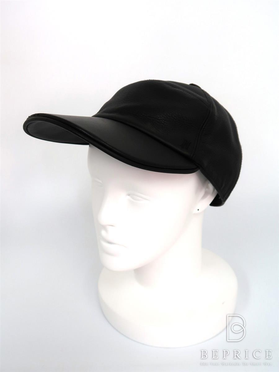 エルメス 帽子 レザー キャップ 汚れあり