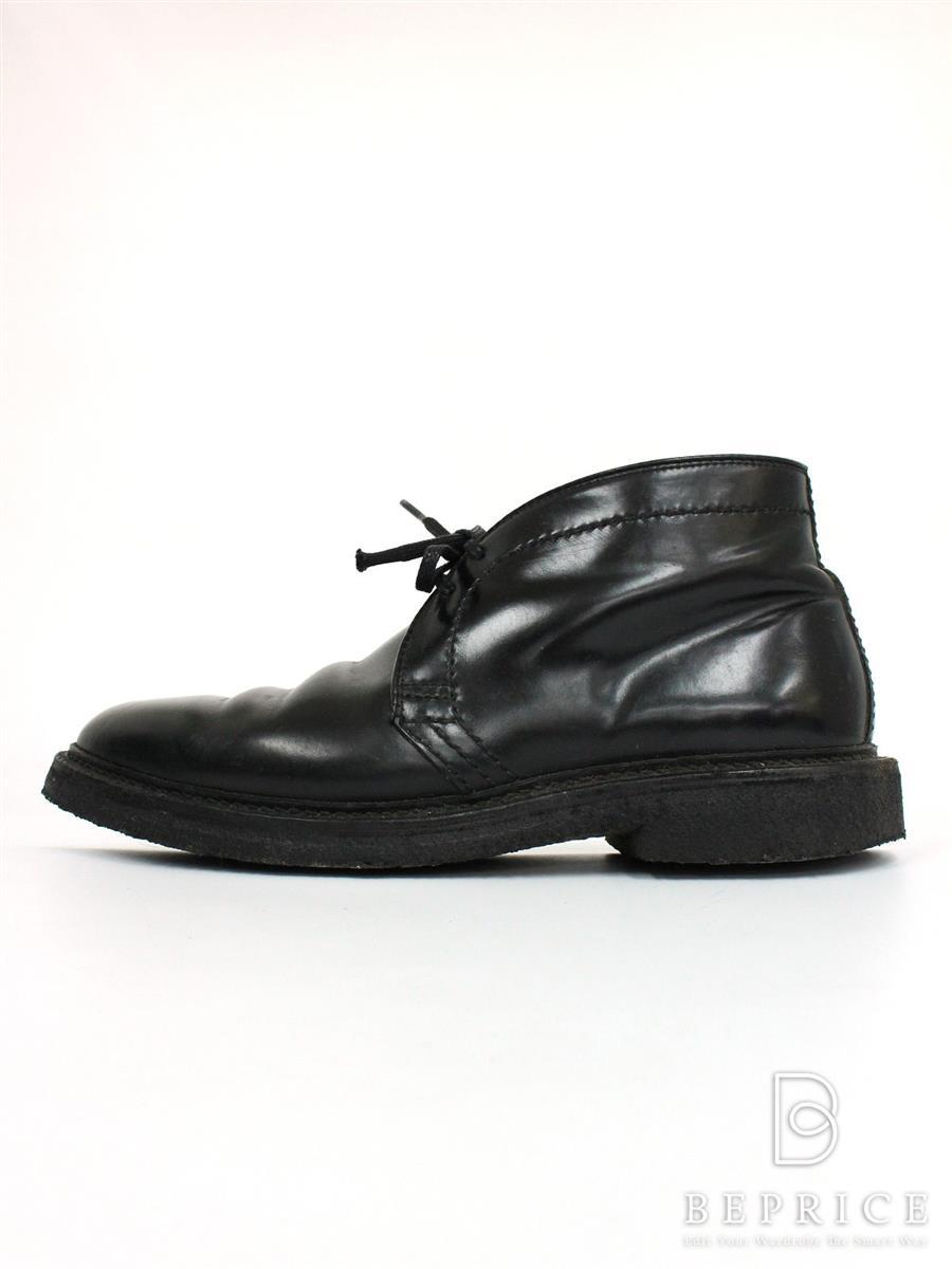 オールデン 靴 チャッカブーツ コードバン ラバーソール ブラック