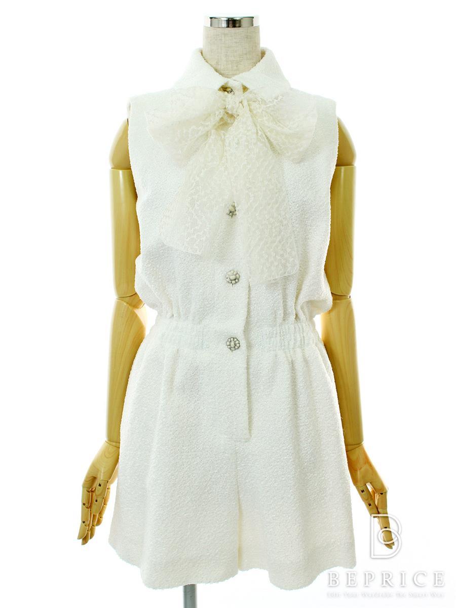 シャネル 洋服 パンツスーツ ツイード JUMP SUIT TWEEDED ETAMINE 2015年 ホワイト