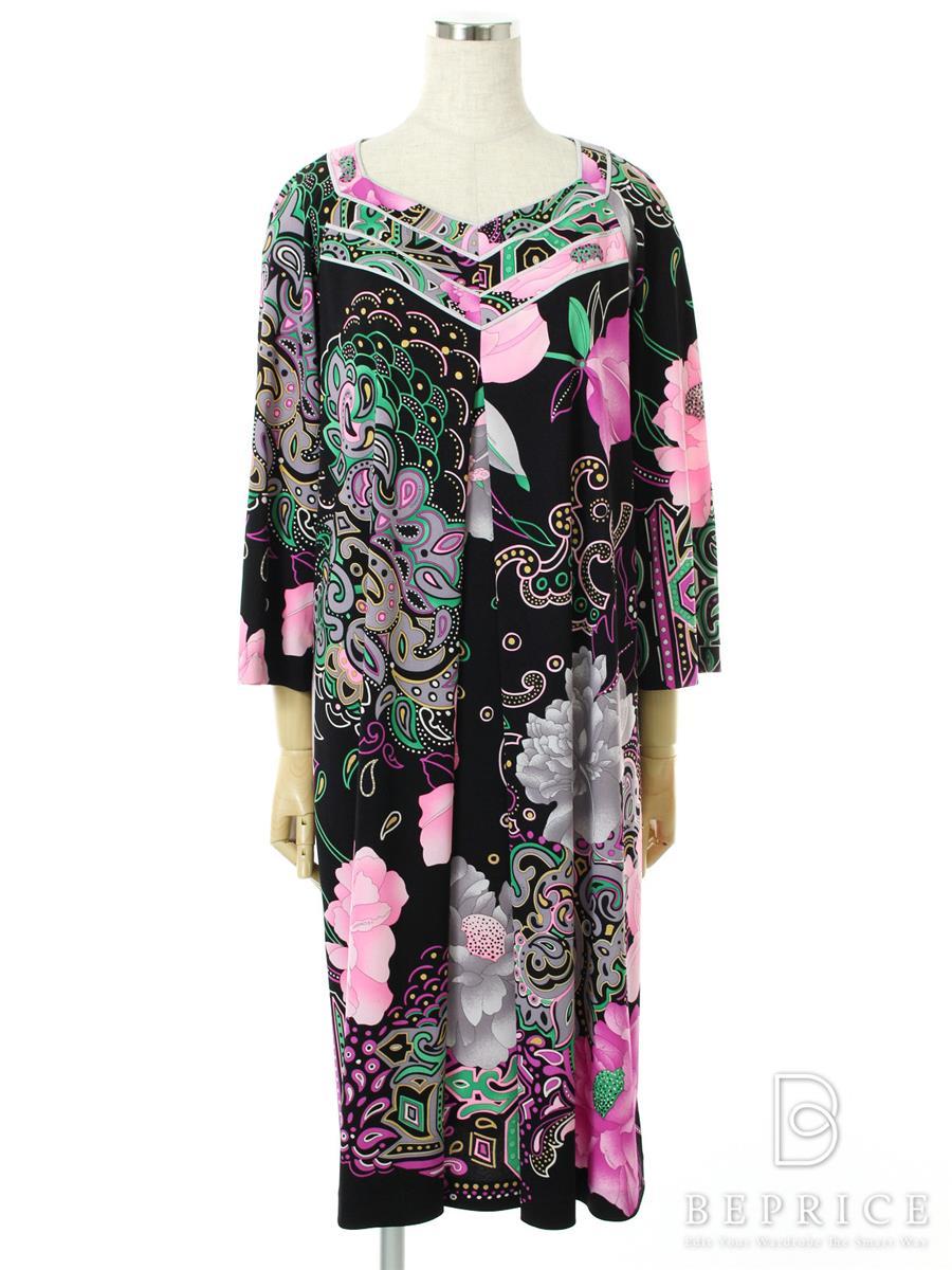 花柄 ワンピース スーツ ブラック