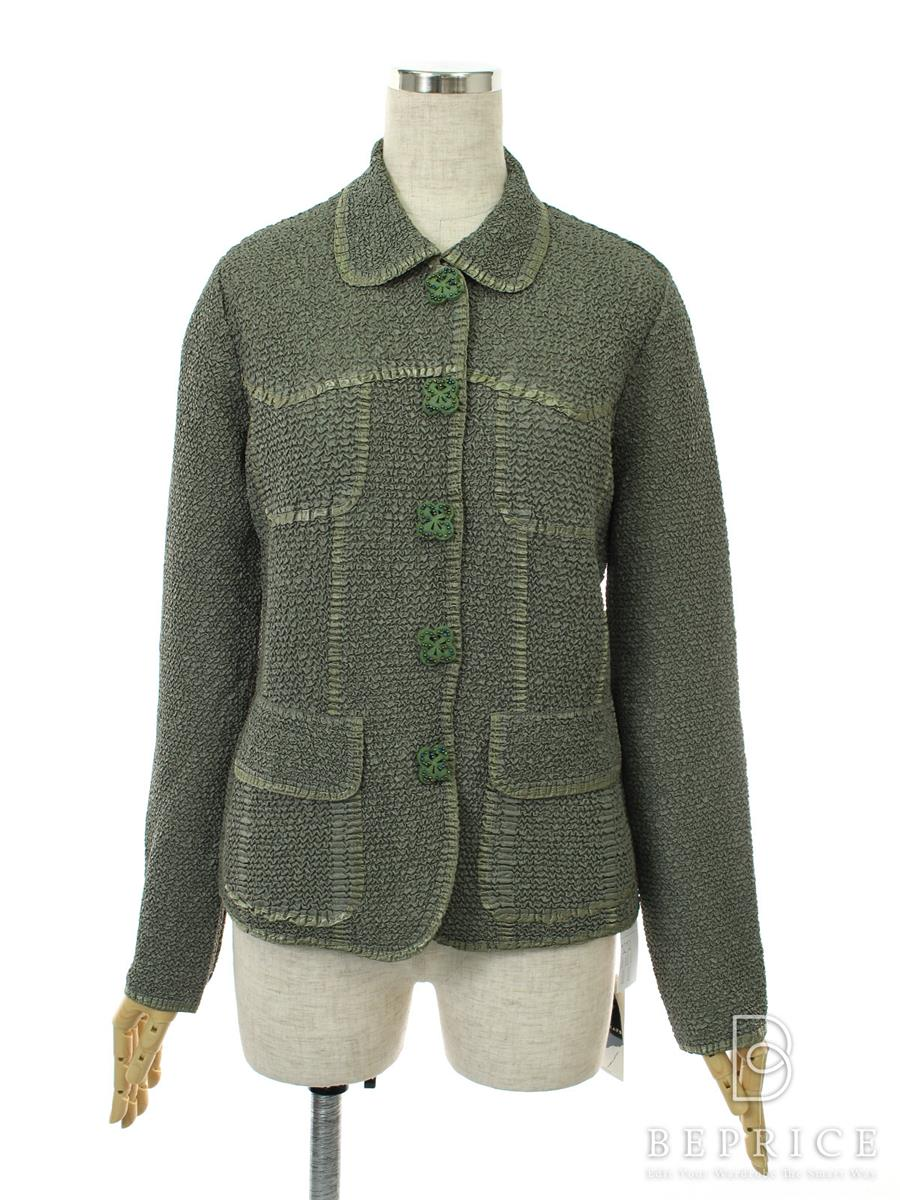 ノコプリーツ ジャケット 衿付 グリーン
