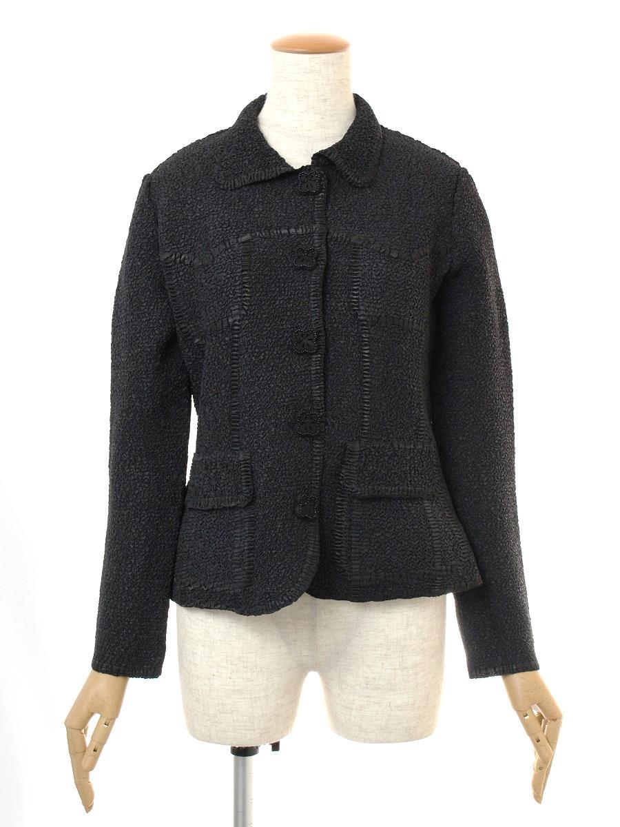 ノコプリーツ ジャケット 衿付 ブラック