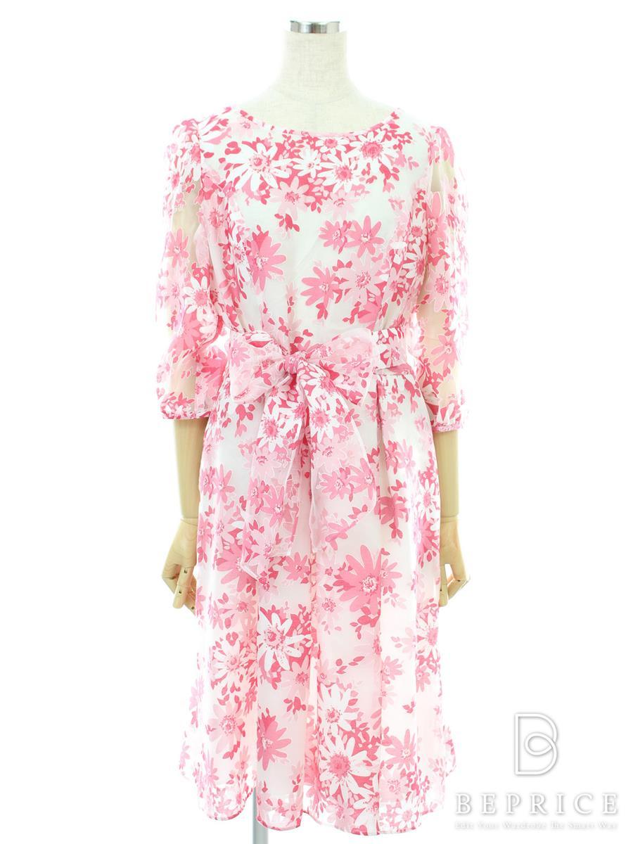 エムズグレイシー ワンピース 半袖 五分袖 花柄 シフォン