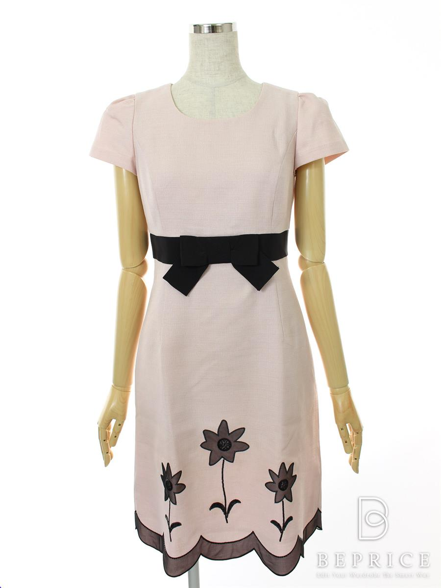 エムズグレイシー ワンピース 半袖 リボン 花柄 スパンコール