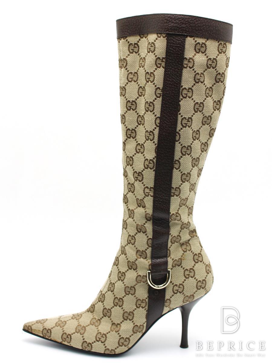 グッチ ブーツ ロングブーツ GG柄