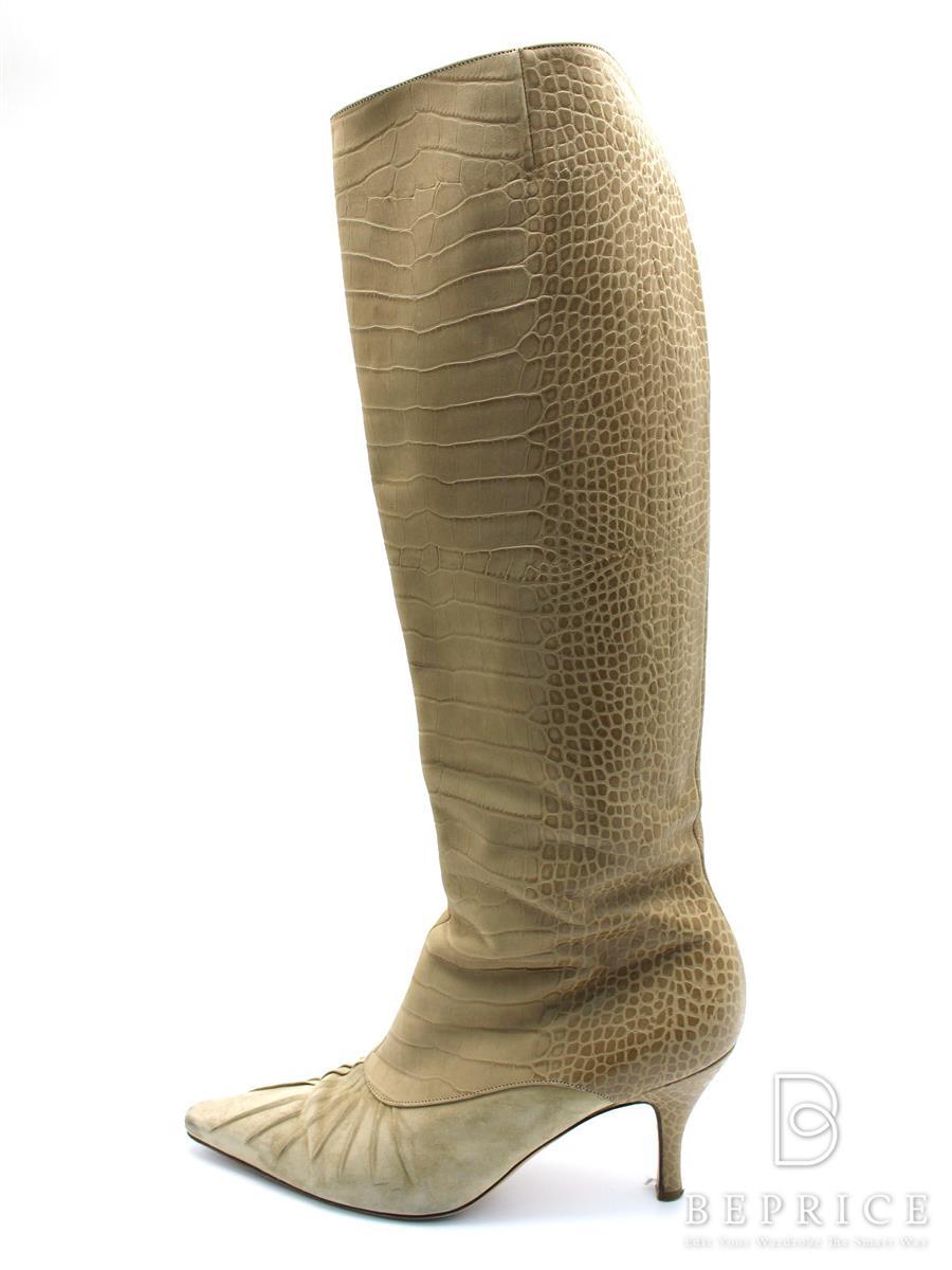サルヴァトーレフェラガモ ブーツ ロングブーツ 型押し スレ汚れあり