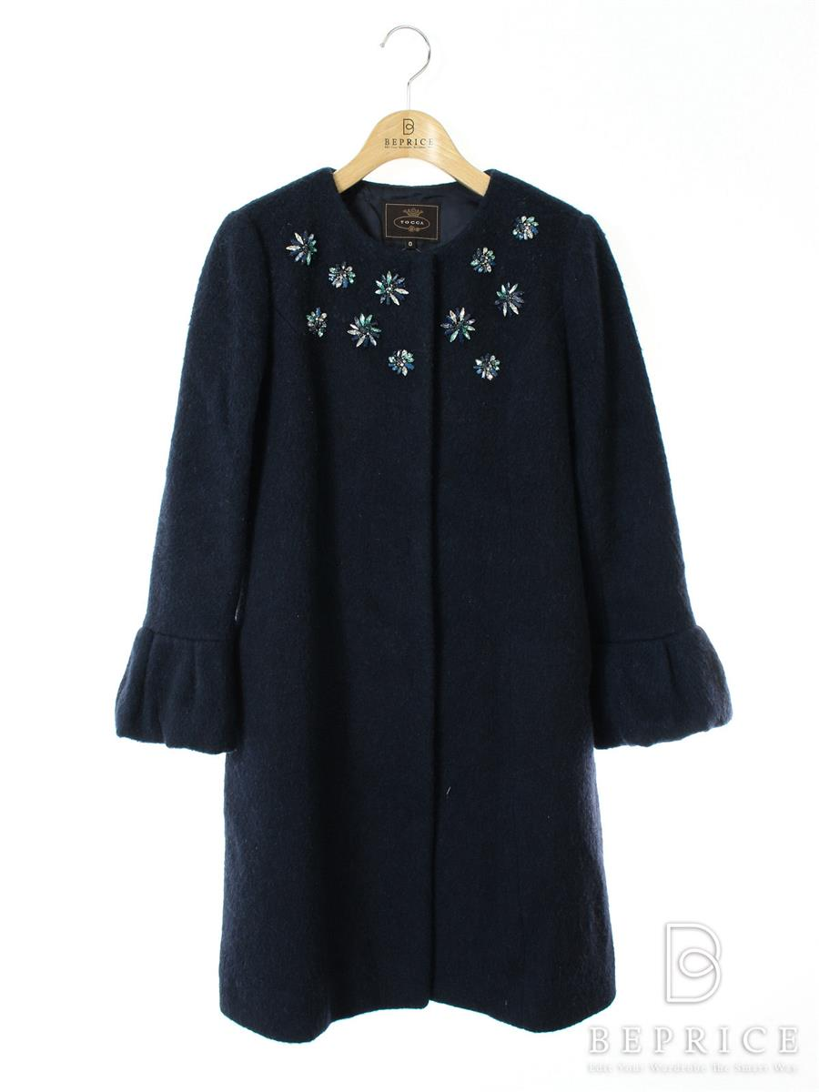 トッカ コート コート ノーカラー 胸装飾 ウール混