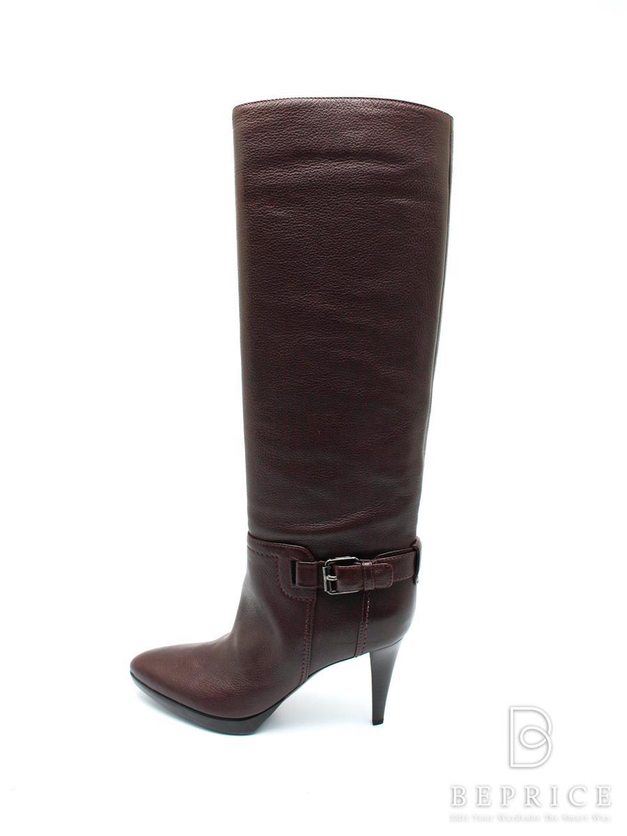 セルジオロッシ ブーツ ブーツ ロング レザー ヒール ベルト 製造時の色ムラ等あり