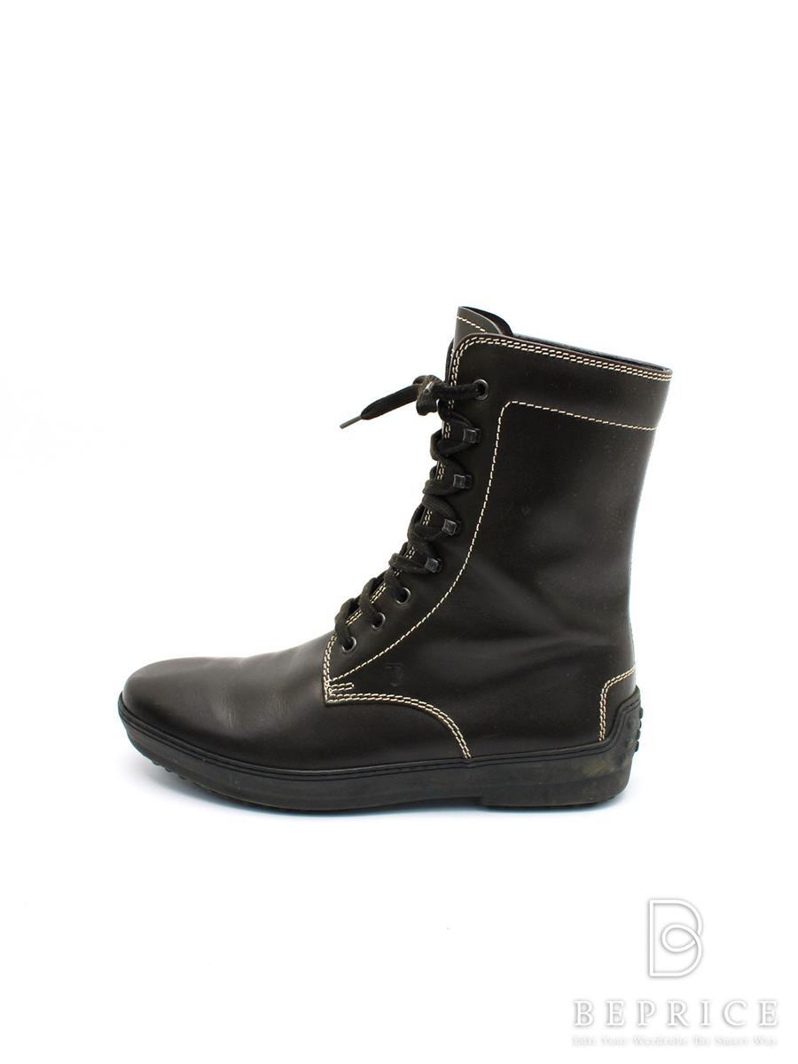 トッズ 靴 レースアップ ブーツ スレ汚れあり