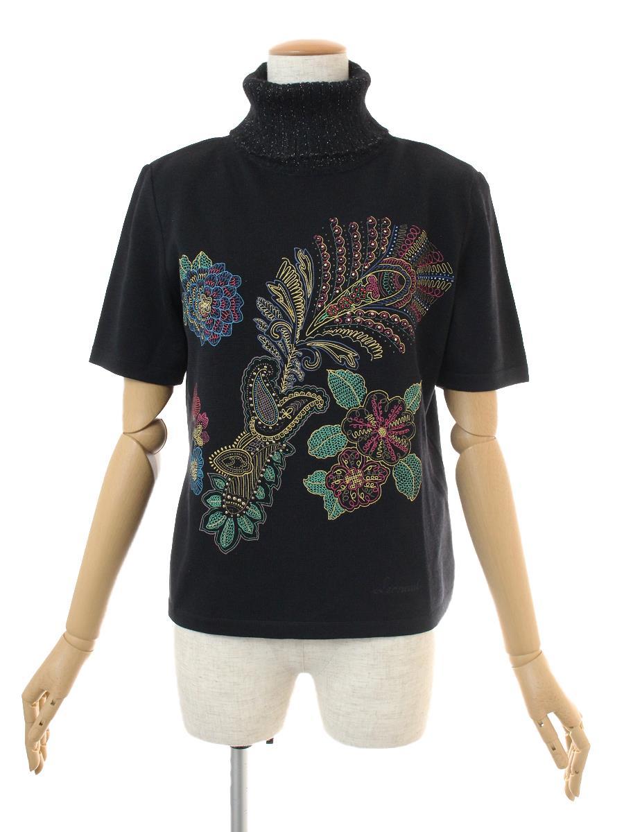 レオナール タートルニット 半袖 花柄