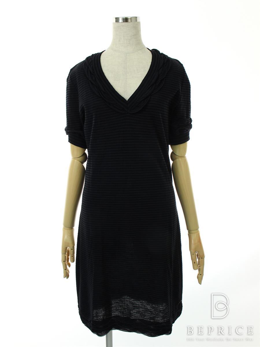 シャネル 洋服 ワンピース 半袖 ボーダー ブラック
