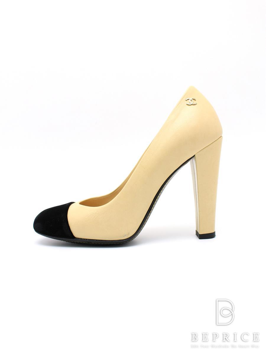シャネル パンプス パンプス バイカラー ベロア 靴擦れシールあり