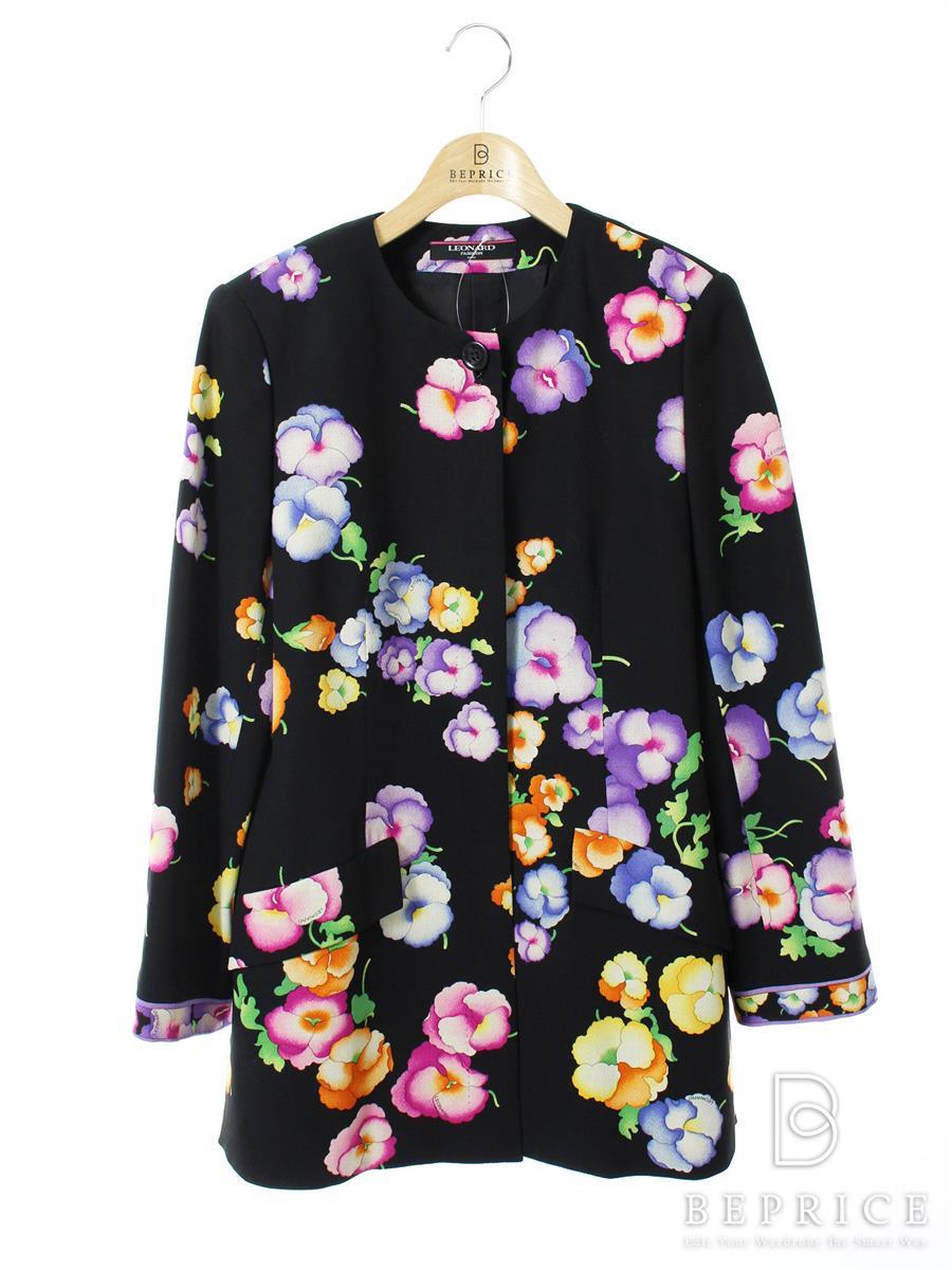 レオナール ノーカラー 花柄 ジャケット