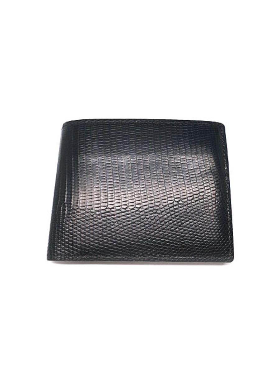 ガンゾ 財布 GANZO ガンゾ 財布 二つ折り リザード5 トカゲ革 薄汚れ・小銭入れ使用感あり