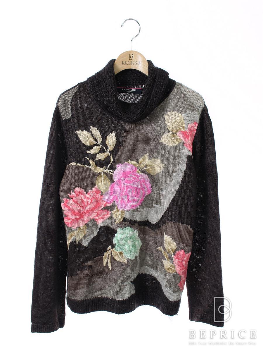 レオナール タートルニット 長袖セーター 花柄
