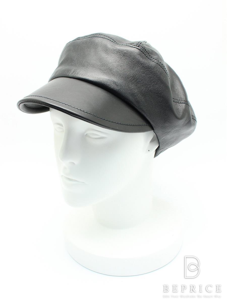 プラダ 帽子 レザー キャスケット ブラック