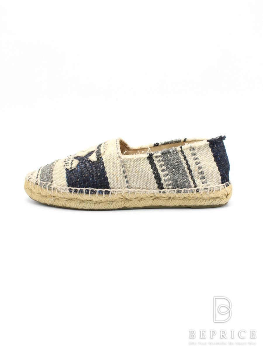 シャネル 靴 シューズ エスパドリーユ ココマーク ソール汚れあり