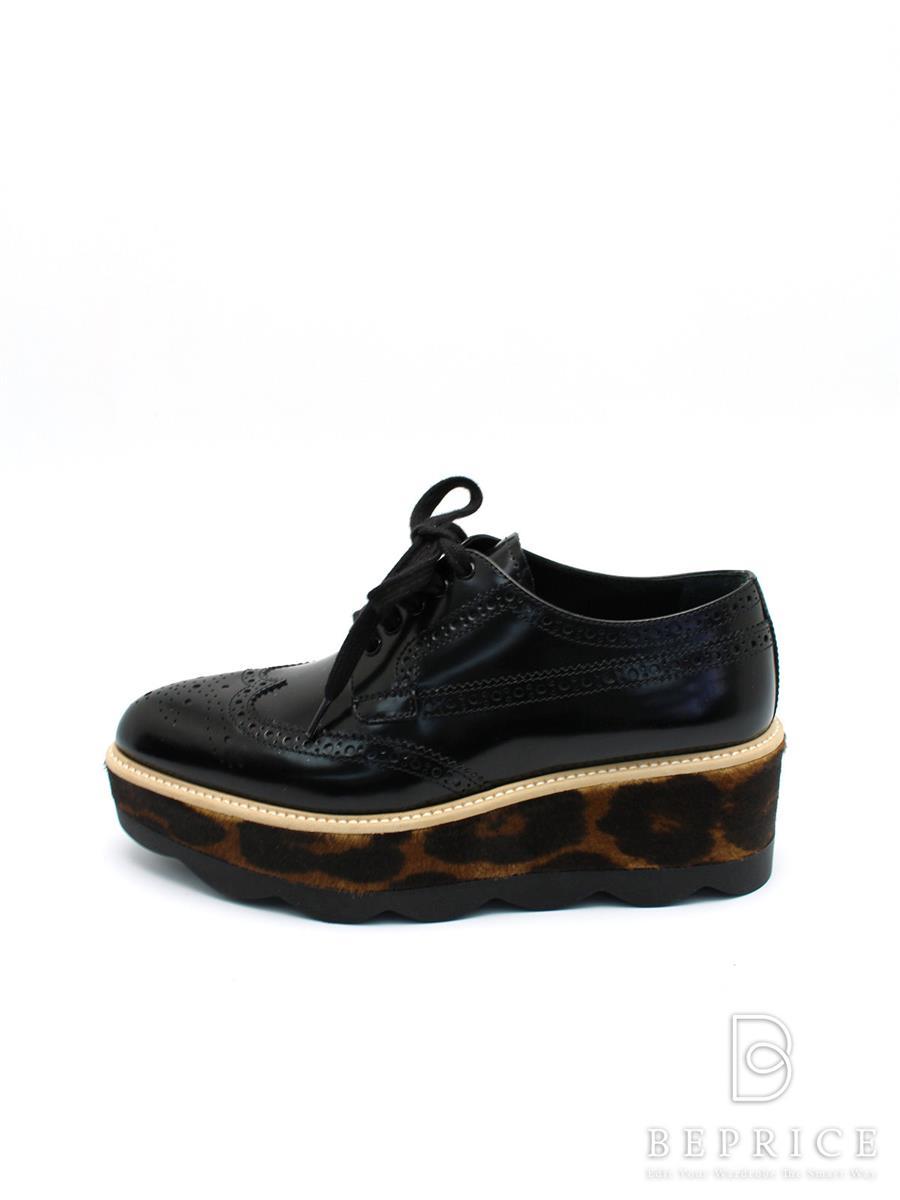 プラダ 靴 シューズ ウィングチップ 厚底 ハラコ