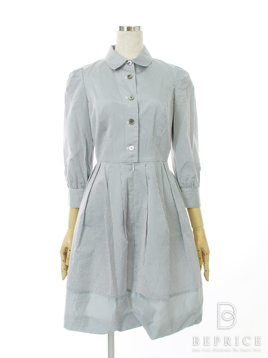 エムズグレイシー ワンピース ワンピース 長袖 衿付 ストライプ 首元薄変色あり