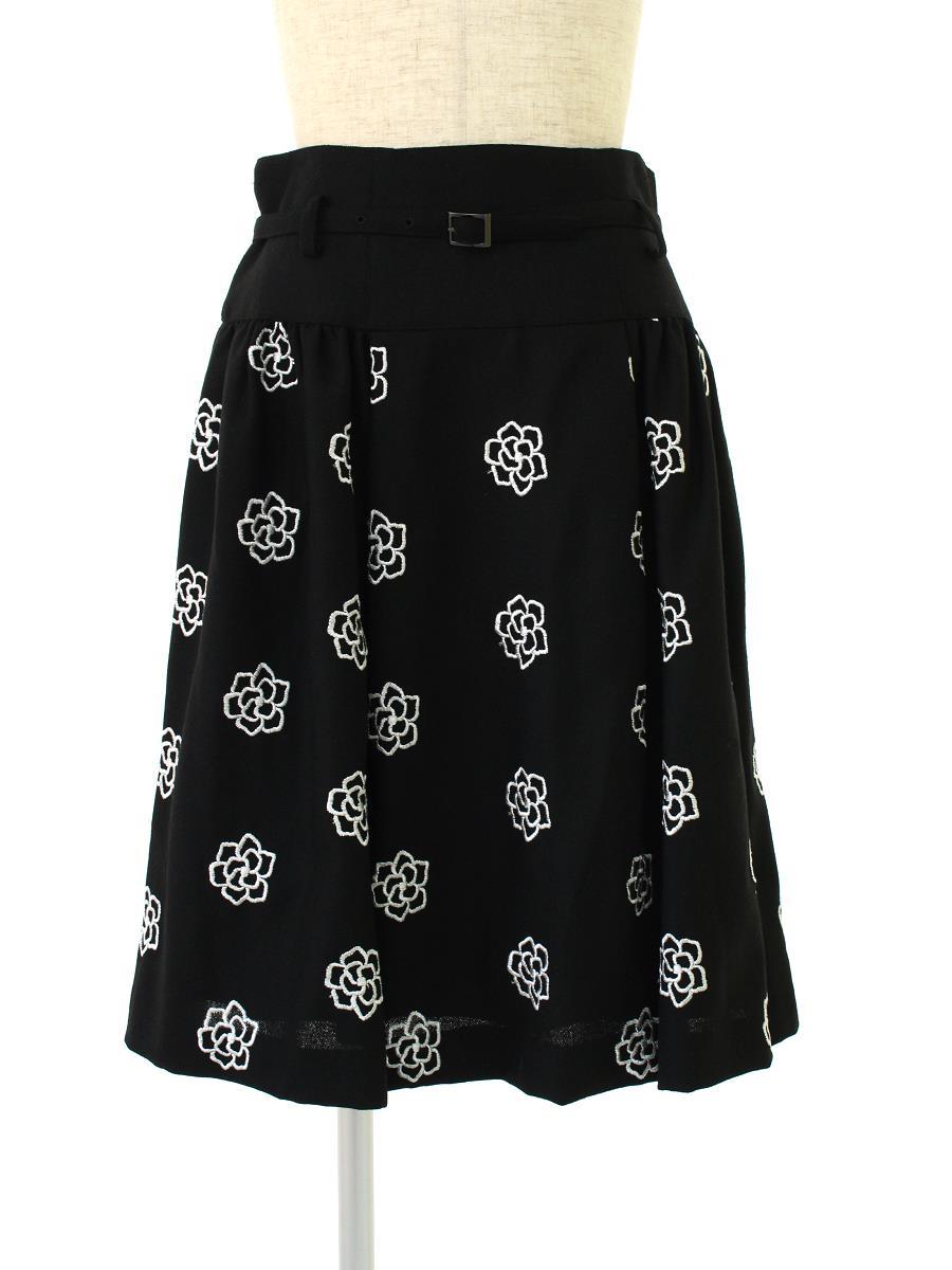 エムズグレイシー スカート フレアー 花柄 刺繍