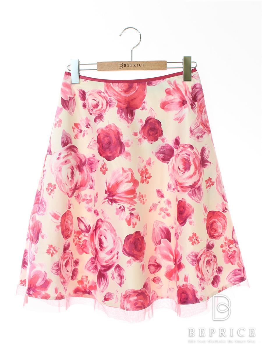 エムズグレイシー スカート フレアー 花柄 バラ柄