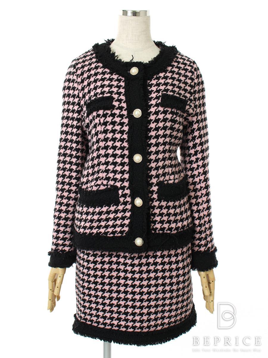 エミリアウィズ スーツ スカート ジャケット ツイード 糸ホツレあり