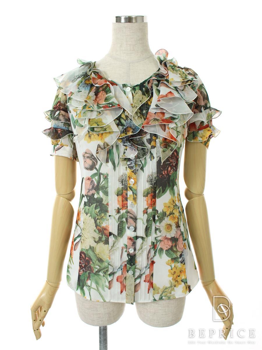 コトゥー Tシャツ カットソー トップス 半袖 フリル 花柄