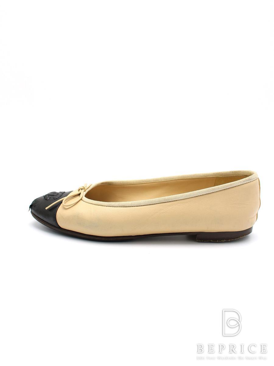 シャネル パンプス 靴 パンプス フラット リボン バイカラー 汚れ等あり