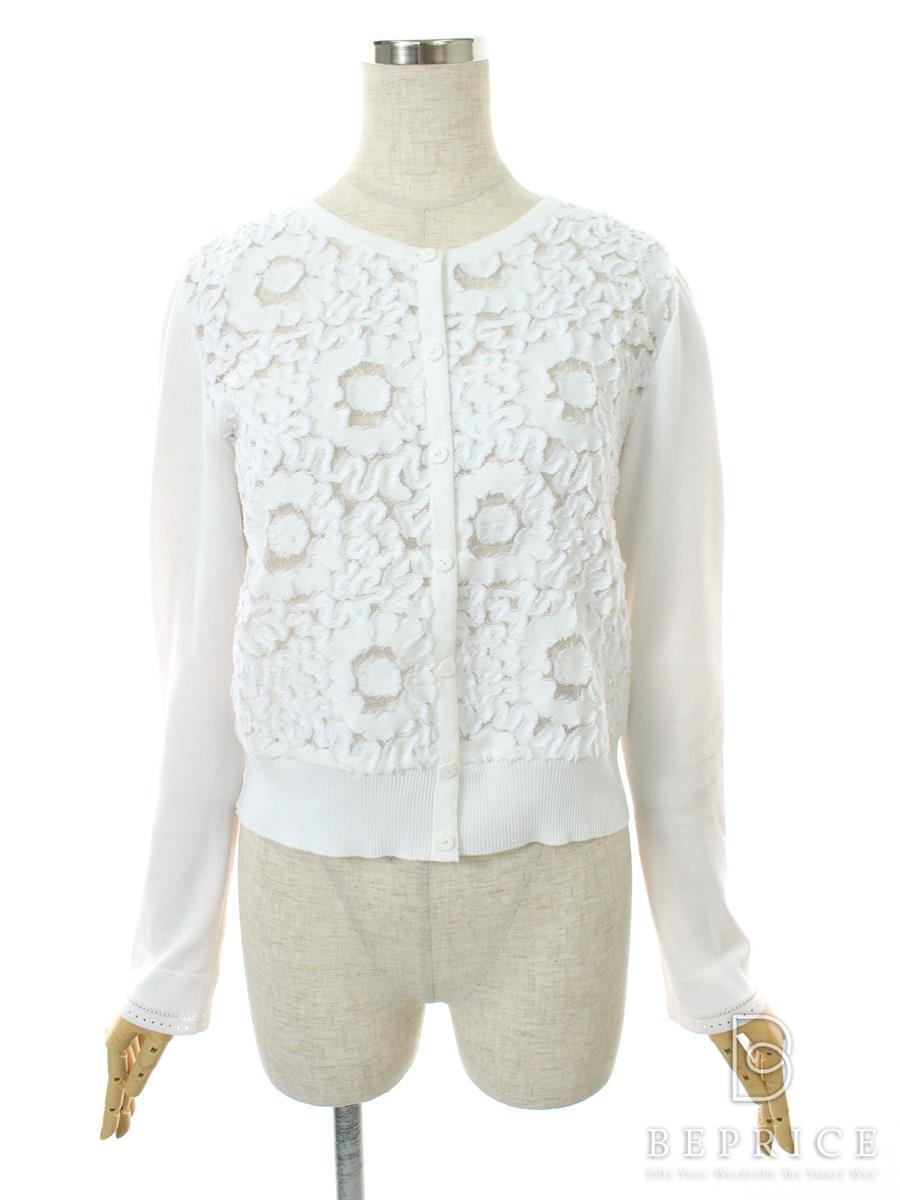 フォクシーブティック カーディガン Jasmine White 薄黄ばみ・袖汚れあり