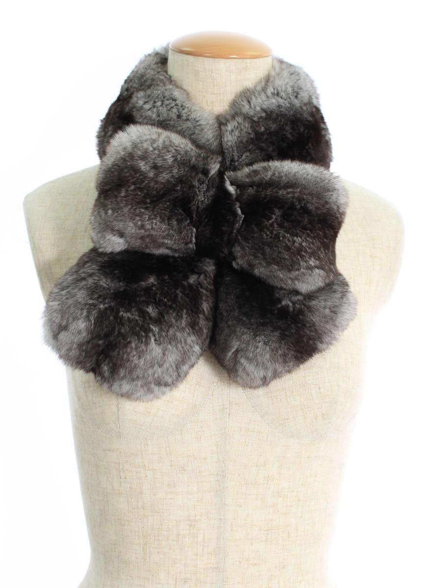毛皮 ティペット マフラー チンチラ リボン ティペット ベアバッグチャーム付き 2016年 グレー