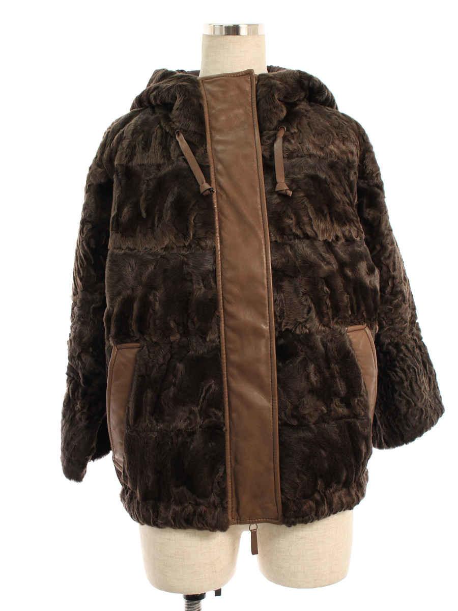 ジャケット フード Wジップ 羊革 羊毛 ファー ブラウン