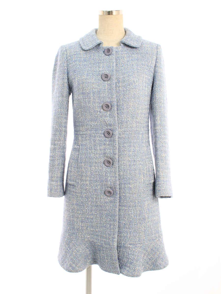 コート ツイード 衿付き ブルー