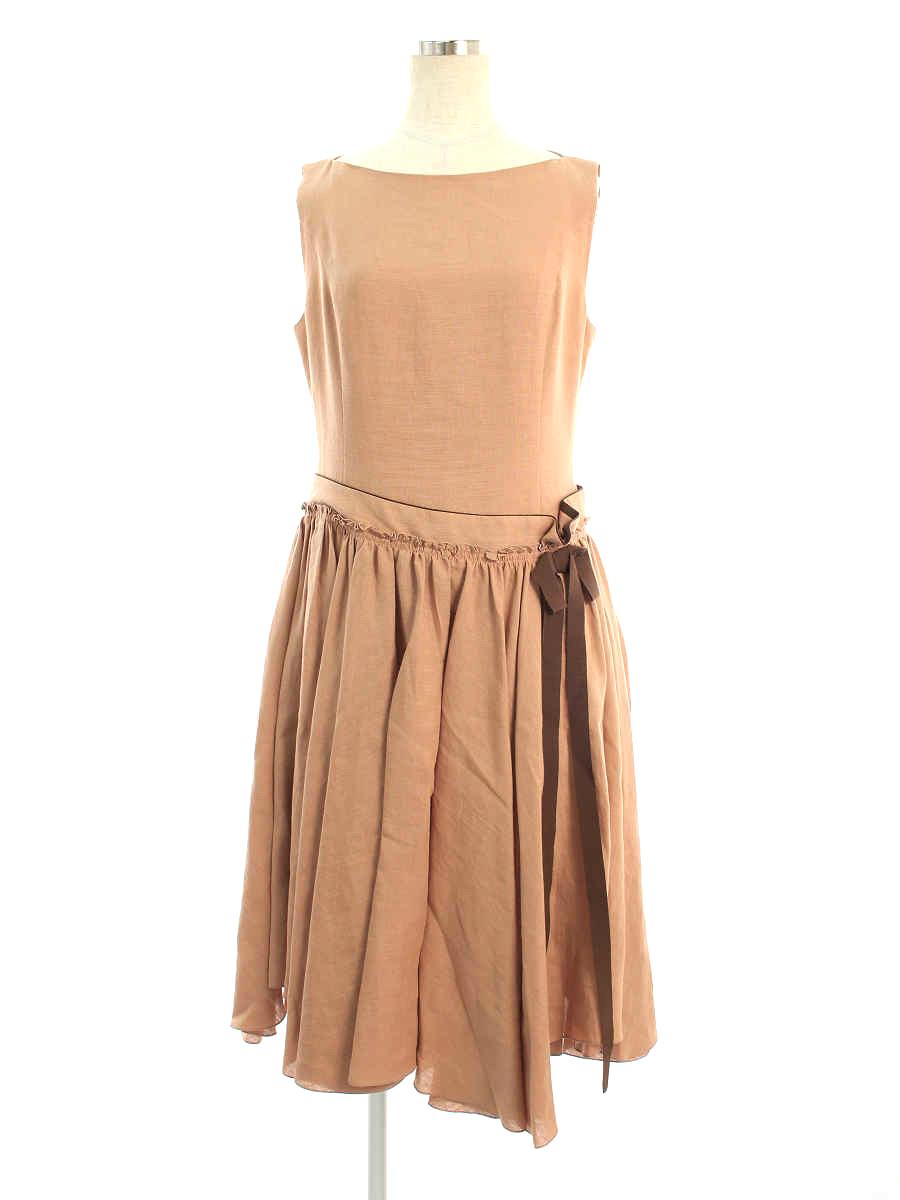 ワンピース 39513 Dress Linen 2019年 ブラウン