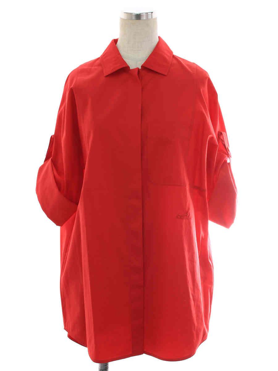 シャツ ブラウス オーバーサイズ ロールアップシャツ 刺繍 レッド