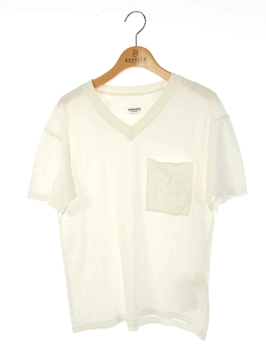 Tシャツ カットソー コットン Vネック ホワイト
