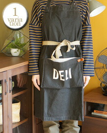 AND PACKABLE APRON DELI BLACK 約80×80 cm