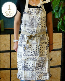 AND PACKABLE APRON Bandanna White 約80×80 cm